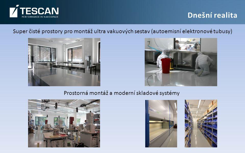 Super čisté prostory pro montáž ultra vakuových sestav (autoemisní elektronové tubusy) Prostorná montáž a moderní skladové systémy Dnešní realita
