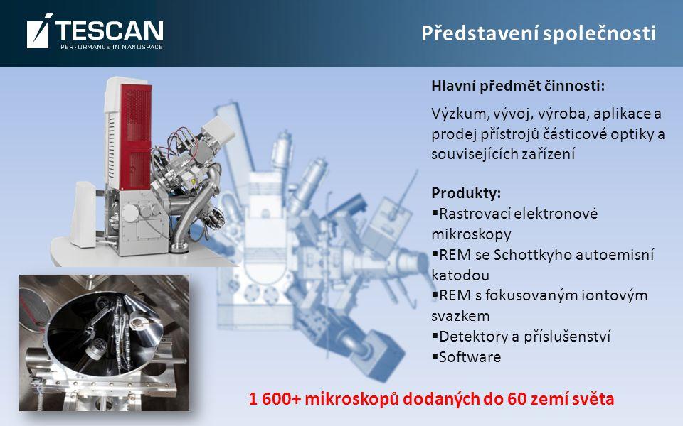 Hlavní předmět činnosti: Výzkum, vývoj, výroba, aplikace a prodej přístrojů částicové optiky a souvisejících zařízení 1 600+ mikroskopů dodaných do 60 zemí světa Představení společnosti Produkty:  Rastrovací elektronové mikroskopy  REM se Schottkyho autoemisní katodou  REM s fokusovaným iontovým svazkem  Detektory a příslušenství  Software