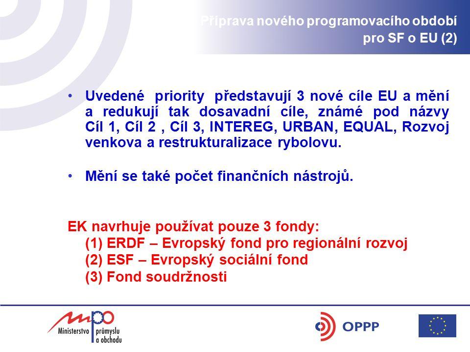 Uvedené priority představují 3 nové cíle EU a mění a redukují tak dosavadní cíle, známé pod názvy Cíl 1, Cíl 2, Cíl 3, INTEREG, URBAN, EQUAL, Rozvoj venkova a restrukturalizace rybolovu.