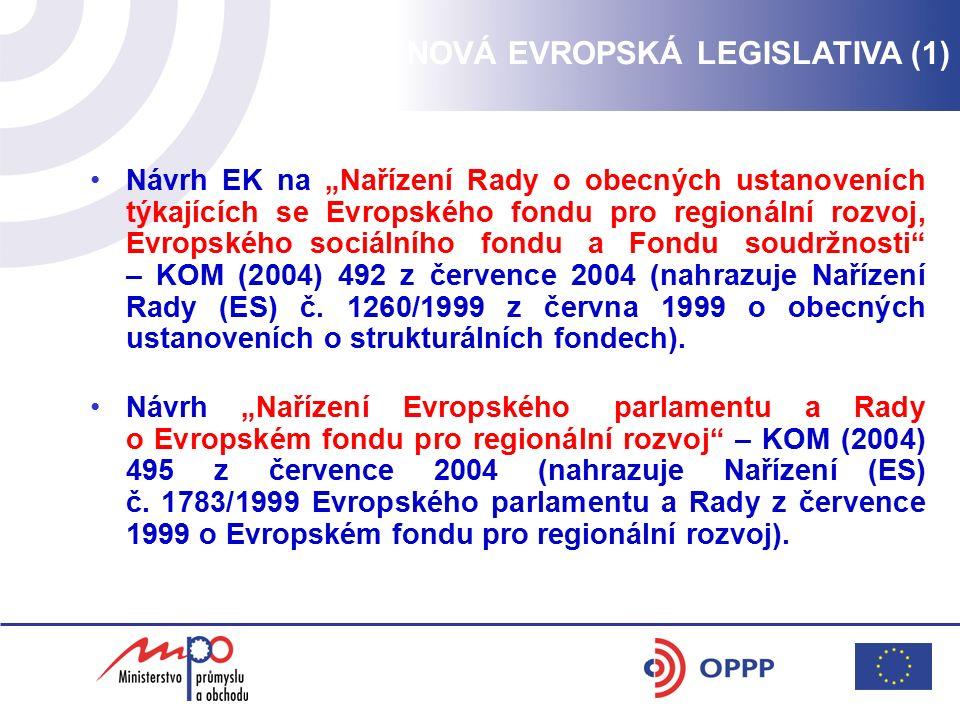 """NOVÁ EVROPSKÁ LEGISLATIVA (1) Návrh EK na """"Nařízení Rady o obecných ustanoveních týkajících se Evropského fondu pro regionální rozvoj, Evropského sociálního fondu a Fondu soudržnosti – KOM (2004) 492 z července 2004 (nahrazuje Nařízení Rady (ES) č."""