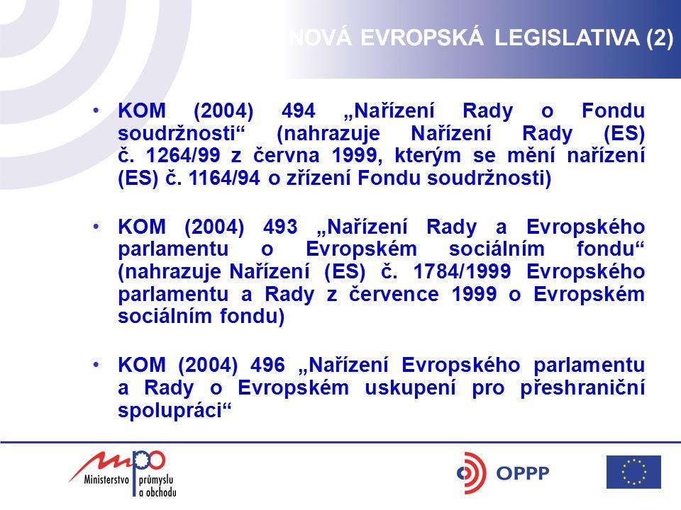 """NOVÁ EVROPSKÁ LEGISLATIVA (2) KOM (2004) 494 """"Nařízení Rady o Fondu soudržnosti"""" (nahrazuje Nařízení Rady (ES) č. 1264/99 z června 1999, kterým se měn"""