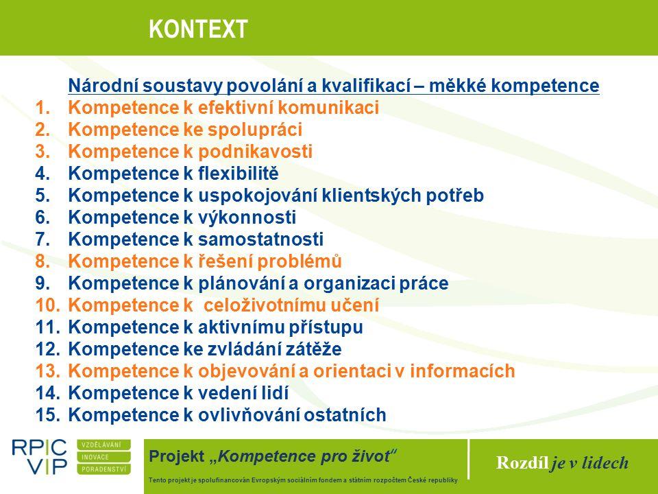"""Rozdíl je v lidech Projekt """"Kompetence pro život Tento projekt je spolufinancován Evropským sociálním fondem a státním rozpočtem České republiky KONTEXT Národní soustavy povolání a kvalifikací – měkké kompetence 1.Kompetence k efektivní komunikaci 2.Kompetence ke spolupráci 3.Kompetence k podnikavosti 4.Kompetence k flexibilitě 5.Kompetence k uspokojování klientských potřeb 6.Kompetence k výkonnosti 7.Kompetence k samostatnosti 8.Kompetence k řešení problémů 9.Kompetence k plánování a organizaci práce 10.Kompetence k celoživotnímu učení 11.Kompetence k aktivnímu přístupu 12.Kompetence ke zvládání zátěže 13.Kompetence k objevování a orientaci v informacích 14.Kompetence k vedení lidí 15.Kompetence k ovlivňování ostatních"""