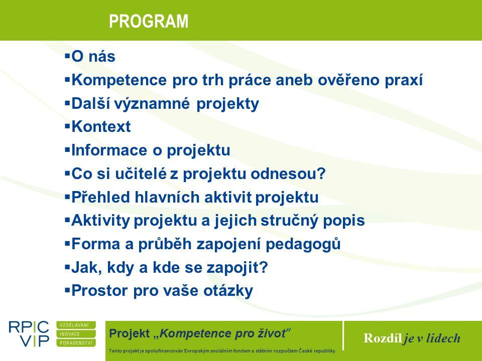 """Rozdíl je v lidech Projekt """"Kompetence pro život Tento projekt je spolufinancován Evropským sociálním fondem a státním rozpočtem České republiky AKTIVITY PROJEKTU Evaluace & akreditace Evaluace - ze strany uživatelů (žáků i pedagogů ZŠ a SŠ) - využití webového portálu a dotazníků zpětné vazby (cca 15 minut) - 700 pedagogů ověří každý s cca 40 – 50 žáky do 3 měsíců Akreditace - Trénink pedagogů k rozvoji kompetencí žáků ZŠ - Trénink pedagogů k rozvoji kompetencí žáků SŠ"""
