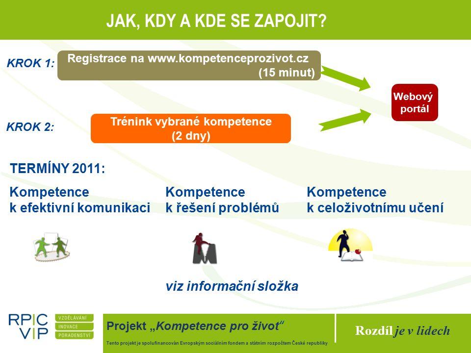 """Rozdíl je v lidech Projekt """"Kompetence pro život Tento projekt je spolufinancován Evropským sociálním fondem a státním rozpočtem České republiky JAK, KDY A KDE SE ZAPOJIT."""