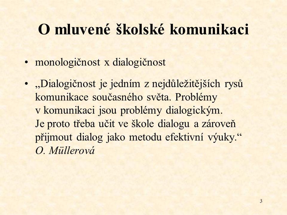 """3 O mluvené školské komunikaci monologičnost x dialogičnost """"Dialogičnost je jedním z nejdůležitějších rysů komunikace současného světa. Problémy v ko"""