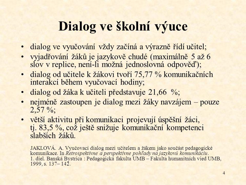 4 Dialog ve školní výuce dialog ve vyučování vždy začíná a výrazně řídí učitel; vyjadřování žáků je jazykově chudé (maximálně 5 až 6 slov v replice, n