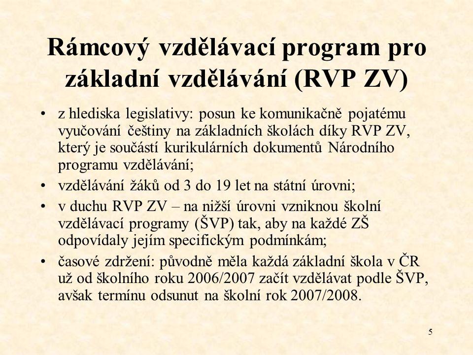 5 Rámcový vzdělávací program pro základní vzdělávání (RVP ZV) z hlediska legislativy: posun ke komunikačně pojatému vyučování češtiny na základních šk