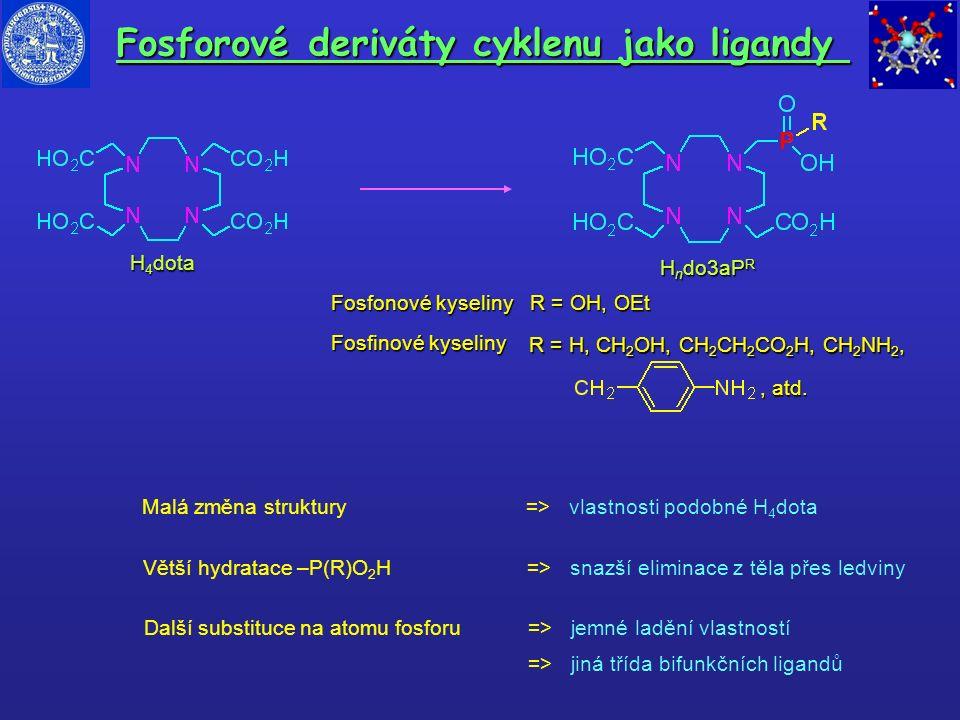 H n do3aP R Fosfonové kyseliny R = OH, OEt H 4 dota Fosfinové kyseliny R = H, CH 2 OH, CH 2 CH 2 CO 2 H, CH 2 NH 2, Větší hydratace –P(R)O 2 H => snaz