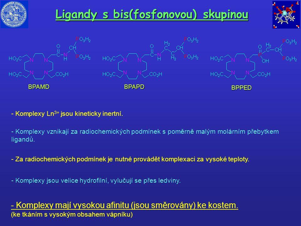 Ligandy s bis(fosfonovou) skupinou BPAMDBPAPD BPPED - Komplexy Ln 3+ jsou kineticky inertní. - Za radiochemických podmínek je nutné provádět komplexac