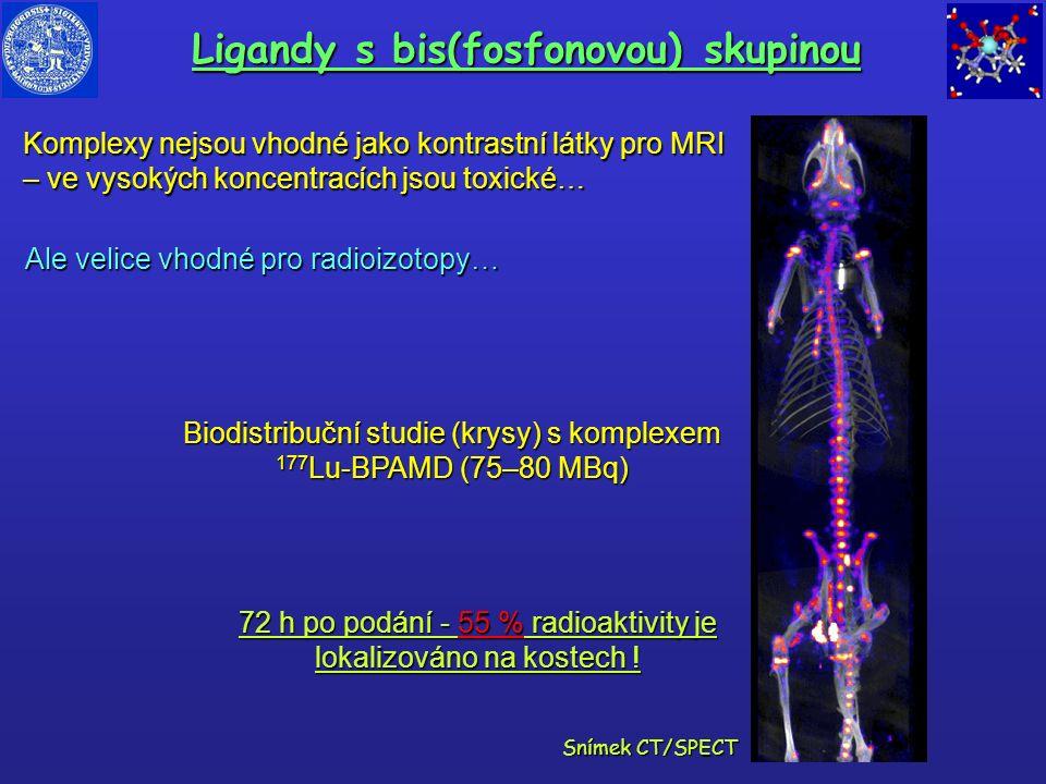 Ligandy s bis(fosfonovou) skupinou Komplexy nejsou vhodné jako kontrastní látky pro MRI – ve vysokých koncentracích jsou toxické… 72 h po podání - 55