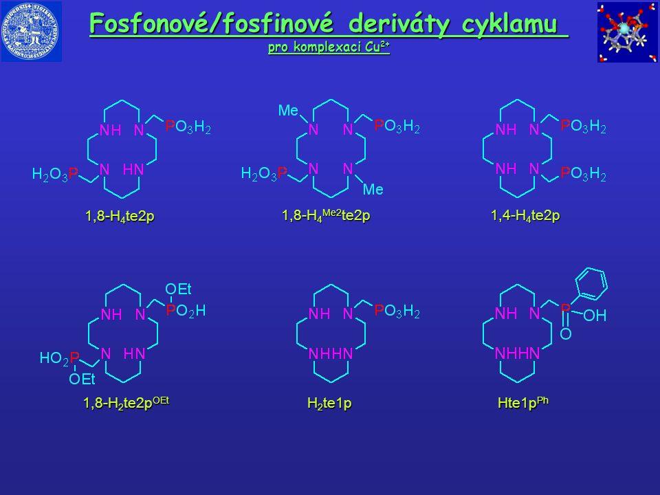 Fosfonové/fosfinové deriváty cyklamu pro komplexaci Cu 2+ 1,8-H 4 te2p 1,8-H 2 te2p OEt 1,4-H 4 te2p H 2 te1p Hte1p Ph 1,8-H 4 Me2 te2p