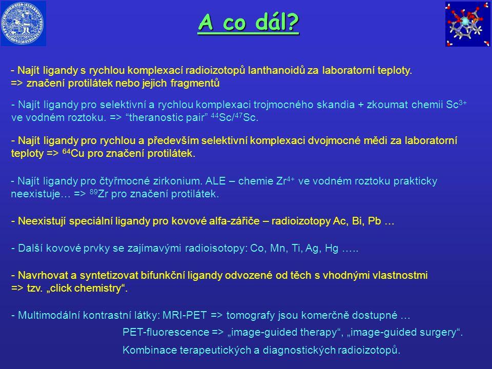 A co dál? - Najít ligandy s rychlou komplexací radioizotopů lanthanoidů za laboratorní teploty. => značení protilátek nebo jejich fragmentů - Najít li