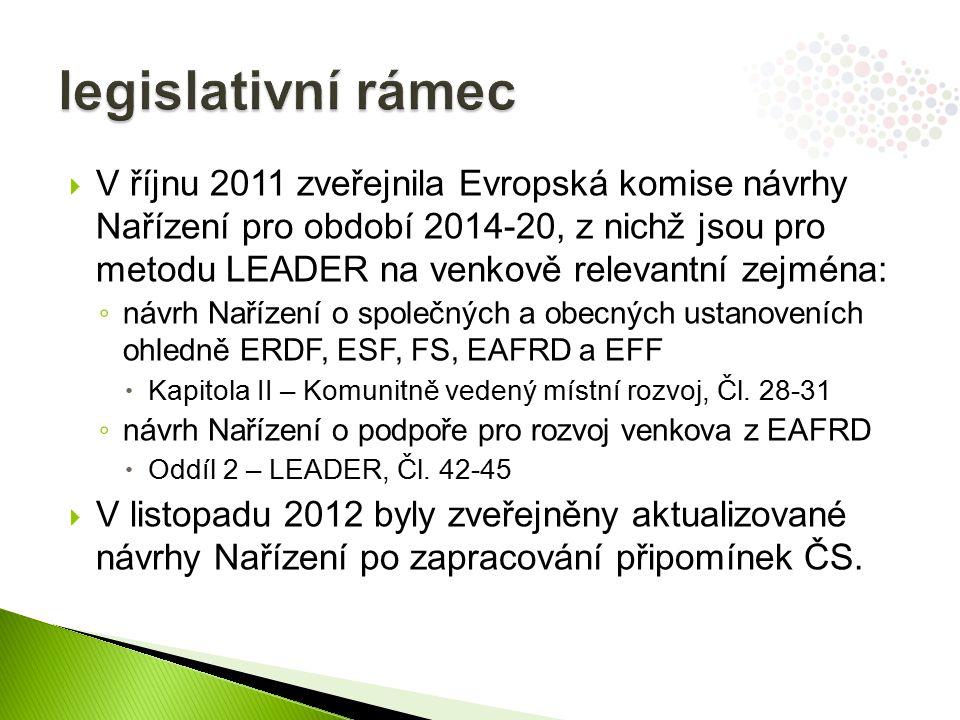  V říjnu 2011 zveřejnila Evropská komise návrhy Nařízení pro období 2014-20, z nichž jsou pro metodu LEADER na venkově relevantní zejména: ◦ návrh Nařízení o společných a obecných ustanoveních ohledně ERDF, ESF, FS, EAFRD a EFF  Kapitola II – Komunitně vedený místní rozvoj, Čl.