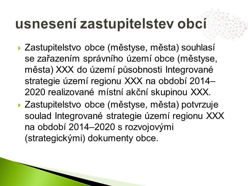  Zastupitelstvo obce (městyse, města) souhlasí se zařazením správního území obce (městyse, města) XXX do území působnosti Integrované strategie území regionu XXX na období 2014– 2020 realizované místní akční skupinou XXX.