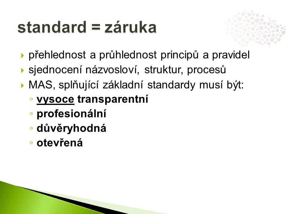  přehlednost a průhlednost principů a pravidel  sjednocení názvosloví, struktur, procesů  MAS, splňující základní standardy musí být: ◦ vysoce transparentní ◦ profesionální ◦ důvěryhodná ◦ otevřená