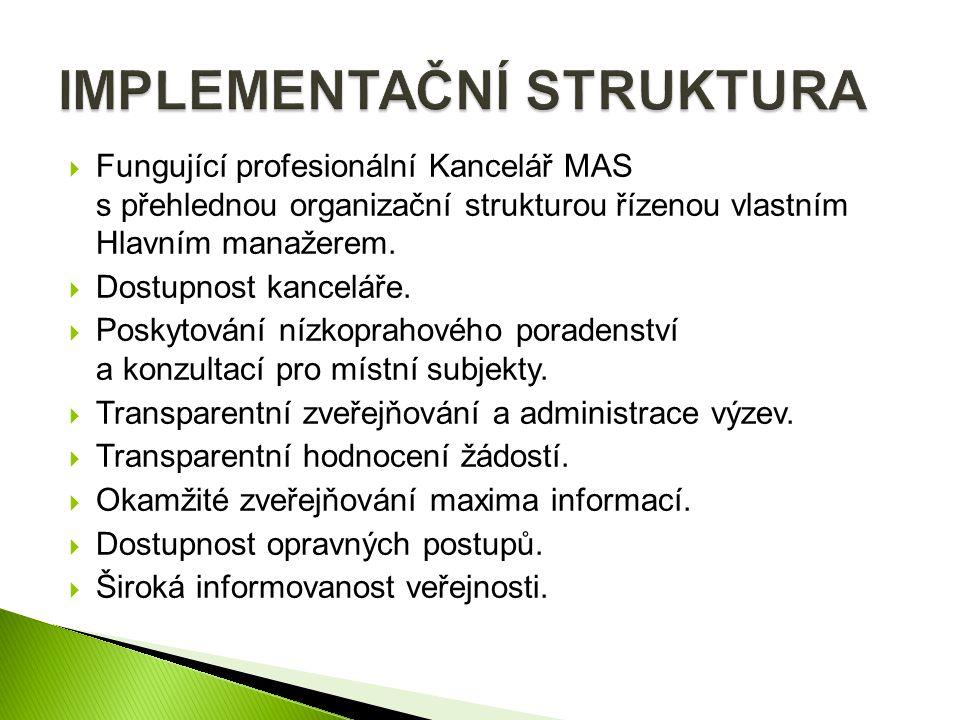  Fungující profesionální Kancelář MAS s přehlednou organizační strukturou řízenou vlastním Hlavním manažerem.