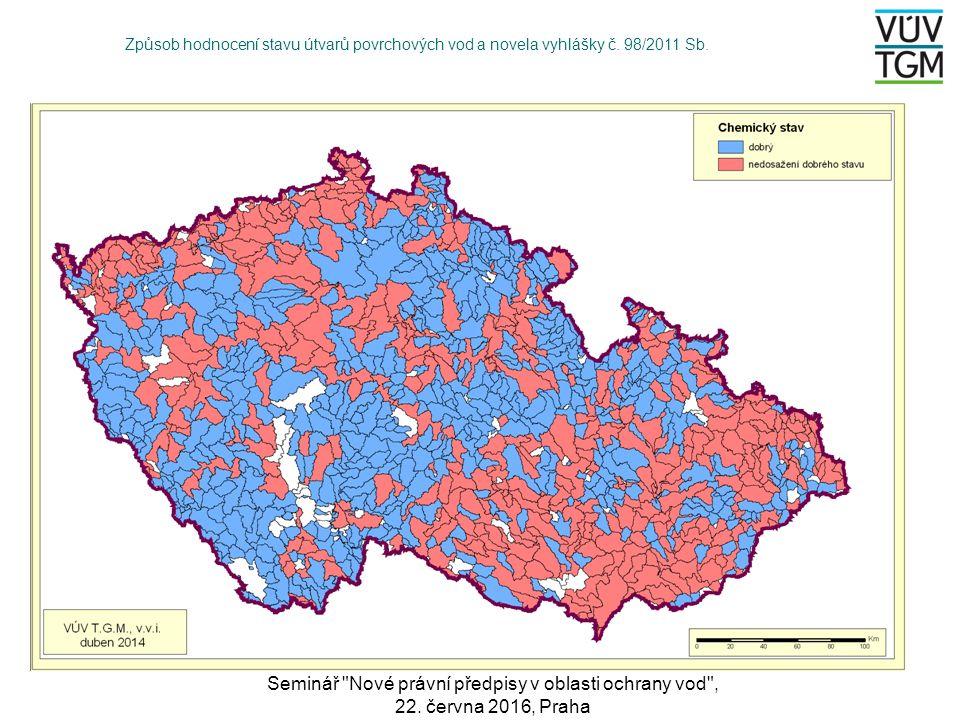 Způsob hodnocení stavu útvarů povrchových vod a novela vyhlášky č.