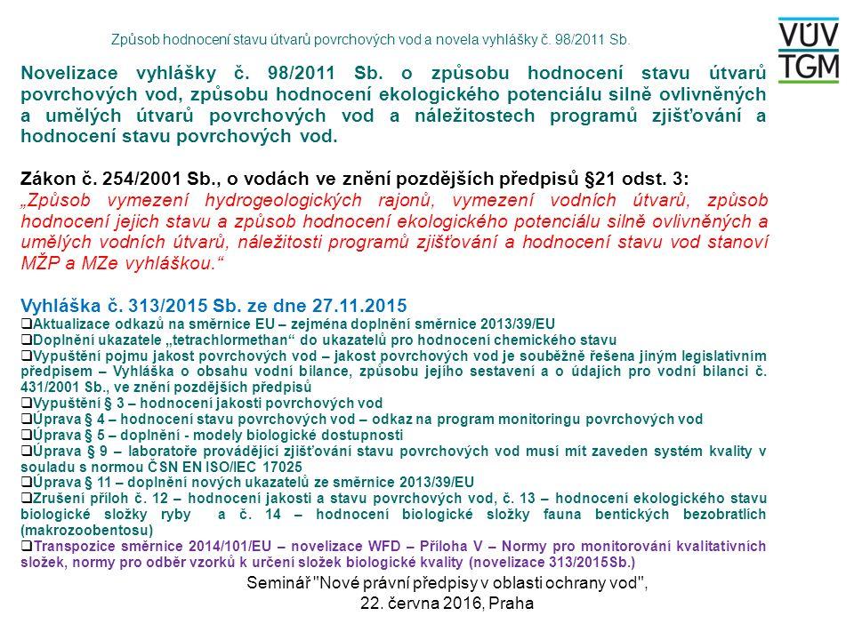 Novelizace vyhlášky č. 98/2011 Sb. o způsobu hodnocení stavu útvarů povrchových vod, způsobu hodnocení ekologického potenciálu silně ovlivněných a umě