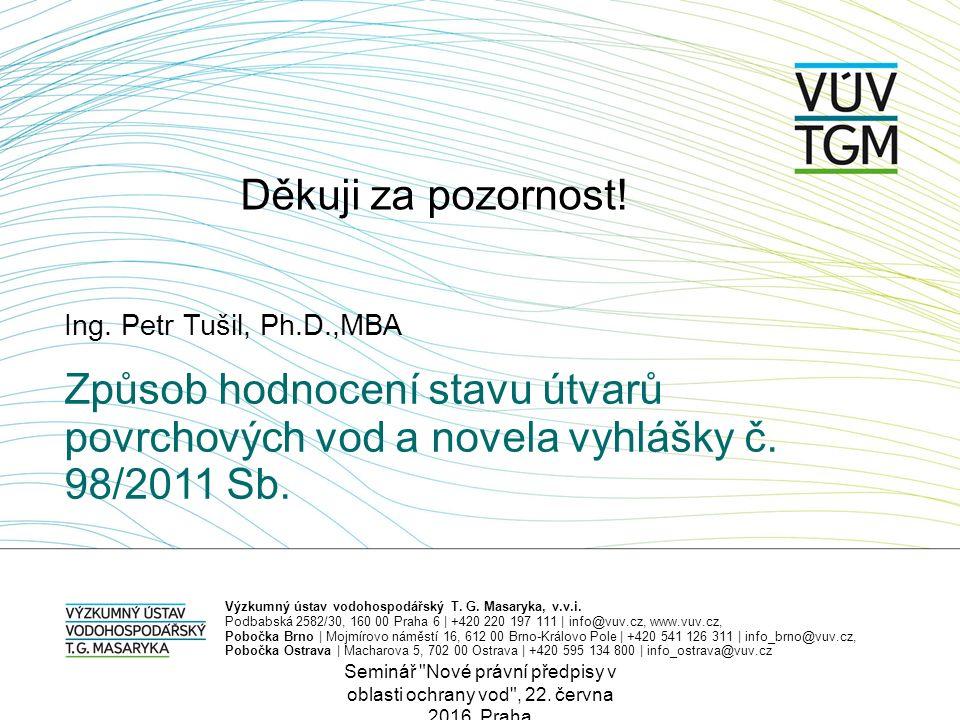 Ing. Petr Tušil, Ph.D.,MBA Výzkumný ústav vodohospodářský T. G. Masaryka, v.v.i. Podbabská 2582/30, 160 00 Praha 6 | +420 220 197 111 | info@vuv.cz, w