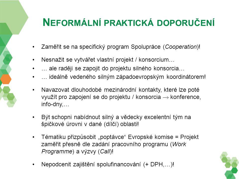 N EFORMÁLNÍ PRAKTICKÁ DOPORUČENÍ Zaměřit se na specifický program Spolupráce (Cooperation)! Nesnažit se vytvářet vlastní projekt / konsorcium… … ale r