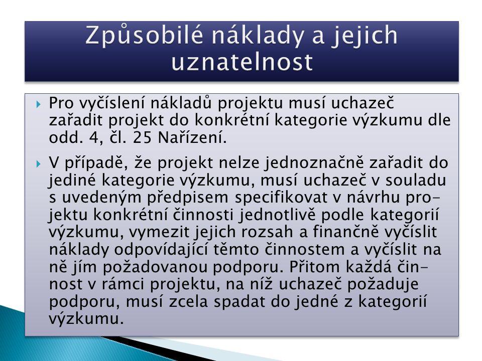  Pro vyčíslení nákladů projektu musí uchazeč zařadit projekt do konkrétní kategorie výzkumu dle odd. 4, čl. 25 Nařízení.  V případě, že projekt nelz