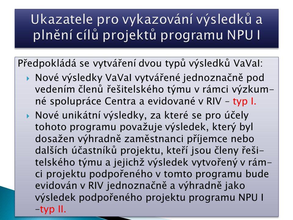 Předpokládá se vytváření dvou typů výsledků VaVaI:  Nové výsledky VaVaI vytvářené jednoznačně pod vedením členů řešitelského týmu v rámci výzkum- né spolupráce Centra a evidované v RIV – typ I.