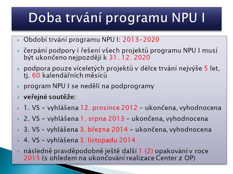  Období trvání programu NPU I: 2013-2020  čerpání podpory i řešení všech projektů programu NPU I musí být ukončeno nejpozději k 31. 12. 2020  podpo