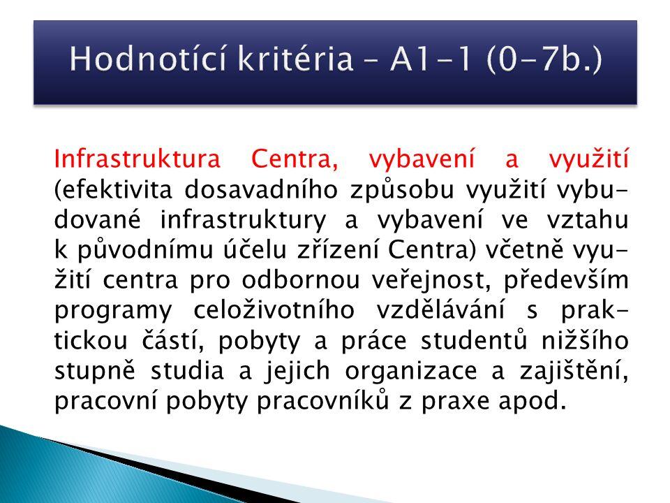 Infrastruktura Centra, vybavení a využití (efektivita dosavadního způsobu využití vybu- dované infrastruktury a vybavení ve vztahu k původnímu účelu z