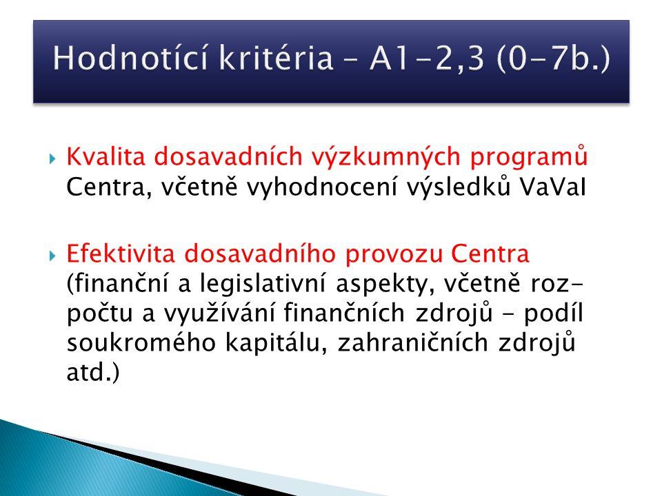  Kvalita dosavadních výzkumných programů Centra, včetně vyhodnocení výsledků VaVaI  Efektivita dosavadního provozu Centra (finanční a legislativní aspekty, včetně roz- počtu a využívání finančních zdrojů - podíl soukromého kapitálu, zahraničních zdrojů atd.)