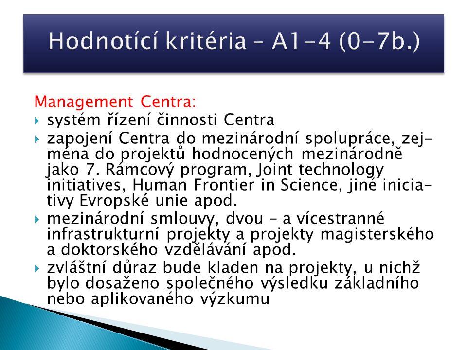 Management Centra:  systém řízení činnosti Centra  zapojení Centra do mezinárodní spolupráce, zej- ména do projektů hodnocených mezinárodně jako 7.