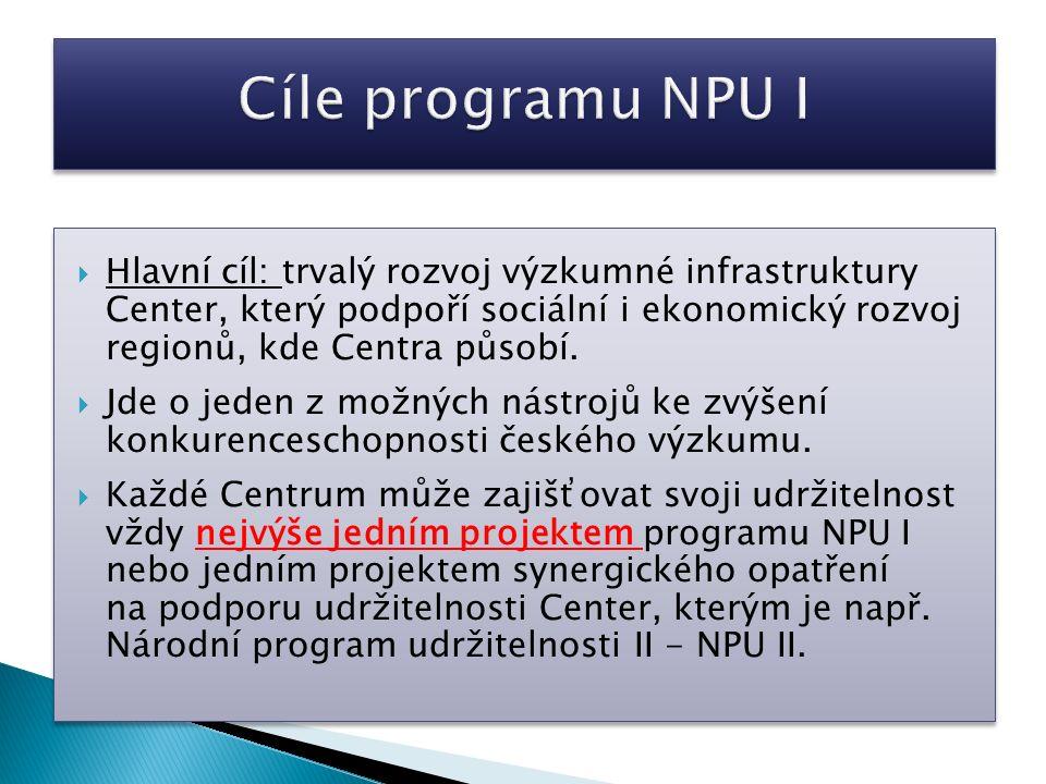  Hlavní cíl: trvalý rozvoj výzkumné infrastruktury Center, který podpoří sociální i ekonomický rozvoj regionů, kde Centra působí.
