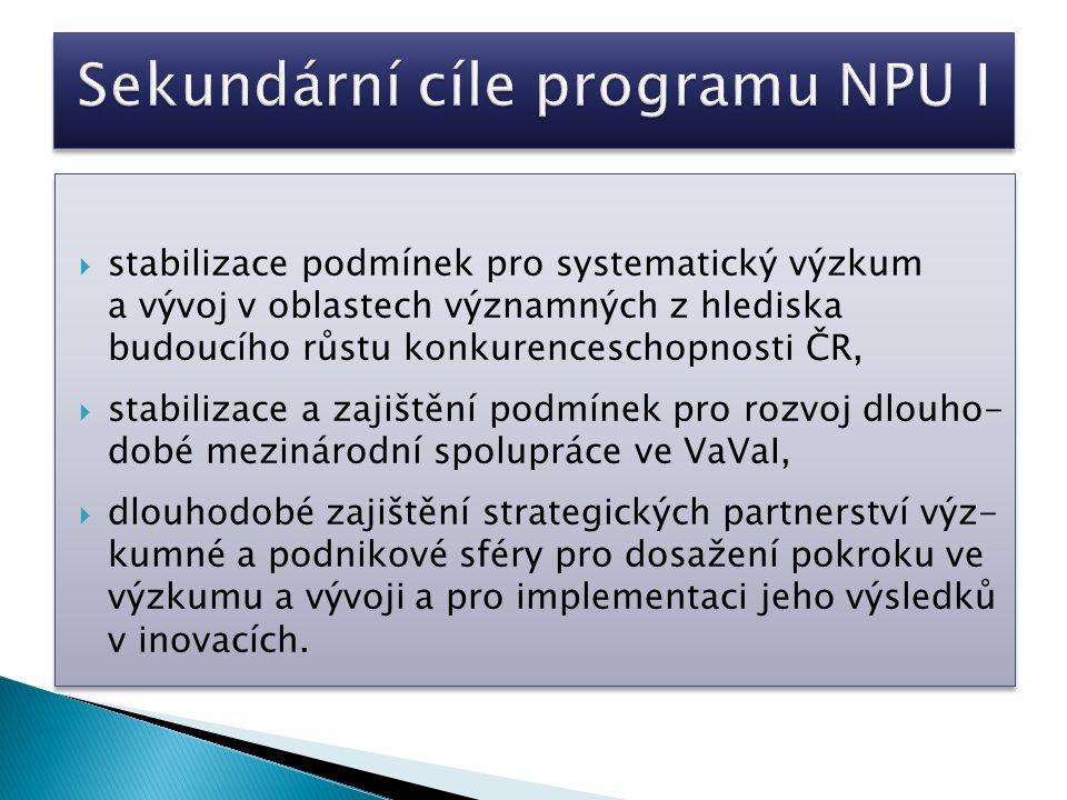  stabilizace podmínek pro systematický výzkum a vývoj v oblastech významných z hlediska budoucího růstu konkurenceschopnosti ČR,  stabilizace a zajištění podmínek pro rozvoj dlouho- dobé mezinárodní spolupráce ve VaVaI,  dlouhodobé zajištění strategických partnerství výz- kumné a podnikové sféry pro dosažení pokroku ve výzkumu a vývoji a pro implementaci jeho výsledků v inovacích.