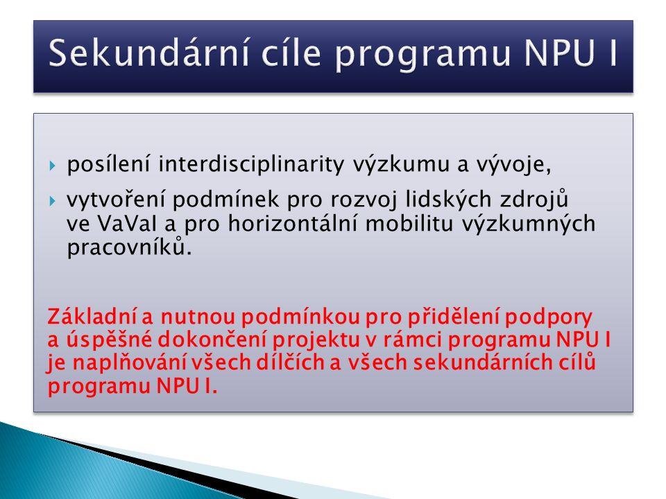Strategická koncepce projektu  věcná příslušnost v návrhu popsaných výzkum- ných aktivit k programu NPU I  provázanost dílčích cílů stanovených v návrhu projektu, včetně navrhovaného způsobu řízení lidských zdrojů pro období řešení projektu, složení řešitelského týmu, plánovaných výsledků, jejich typů a počtu, s vybudovanou infrastruktu- rou Centra a efektivita využití jejich kapacit a vybavení  návaznost na priority VaVaI