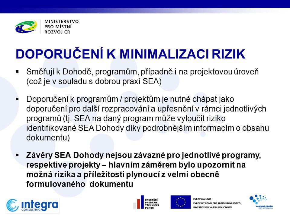  Směřují k Dohodě, programům, případně i na projektovou úroveň (což je v souladu s dobrou praxí SEA)  Doporučení k programům / projektům je nutné chápat jako doporučení pro další rozpracování a upřesnění v rámci jednotlivých programů (tj.