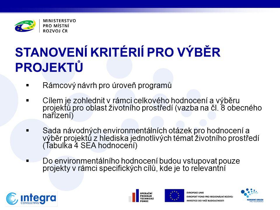  Rámcový návrh pro úroveň programů  Cílem je zohlednit v rámci celkového hodnocení a výběru projektů pro oblast životního prostředí (vazba na čl.