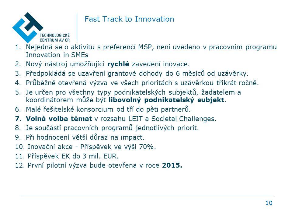 Fast Track to Innovation 1.Nejedná se o aktivitu s preferencí MSP, není uvedeno v pracovním programu Innovation in SMEs 2.Nový nástroj umožňující rych