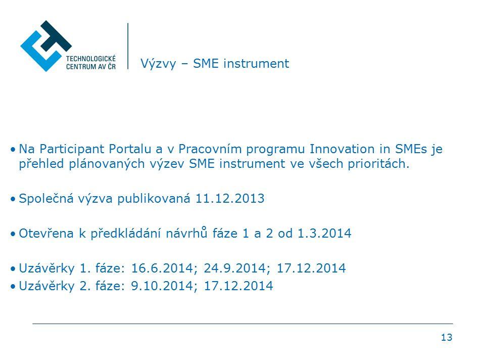 13 Výzvy – SME instrument Na Participant Portalu a v Pracovním programu Innovation in SMEs je přehled plánovaných výzev SME instrument ve všech priori