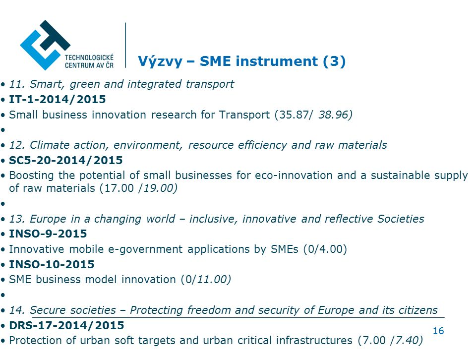 Výzvy – SME instrument (3) 11. Smart, green and integrated transport IT-1-2014/2015 Small business innovation research for Transport (35.87/ 38.96) 12
