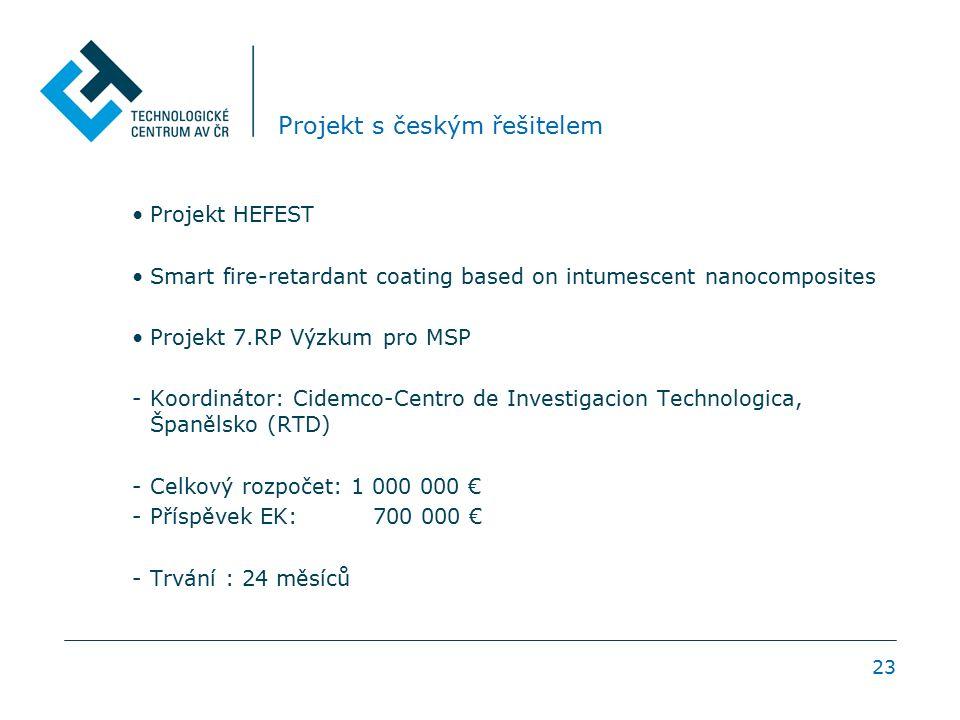 23 Projekt s českým řešitelem Projekt HEFEST Smart fire-retardant coating based on intumescent nanocomposites Projekt 7.RP Výzkum pro MSP -Koordinátor: Cidemco-Centro de Investigacion Technologica, Španělsko (RTD) -Celkový rozpočet: 1 000 000 € -Příspěvek EK: 700 000 € -Trvání : 24 měsíců