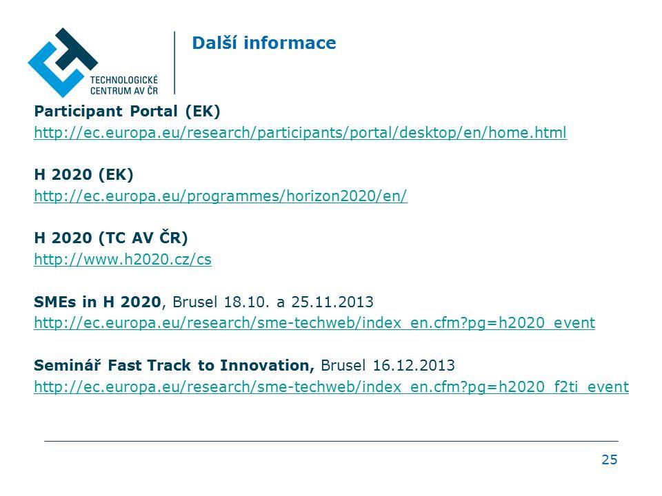Další informace Participant Portal (EK) http://ec.europa.eu/research/participants/portal/desktop/en/home.html H 2020 (EK) http://ec.europa.eu/programm