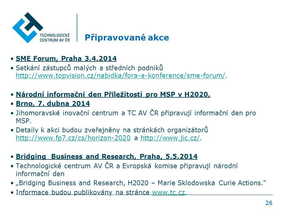 26 Připravované akce SME Forum, Praha 3.4.2014 Setkání zástupců malých a středních podniků http://www.topvision.cz/nabidka/fora-a-konference/sme-forum/.
