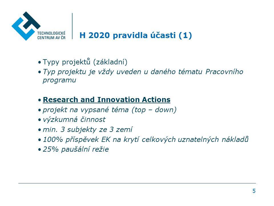 H 2020 pravidla účasti (1) Typy projektů (základní) Typ projektu je vždy uveden u daného tématu Pracovního programu Research and Innovation Actions pr