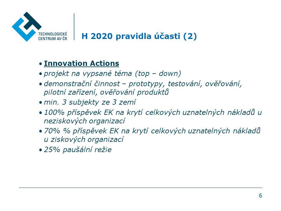 H 2020 pravidla účasti (2) Innovation Actions projekt na vypsané téma (top – down) demonstrační činnost – prototypy, testování, ověřování, pilotní zařízení, ověřování produktů min.