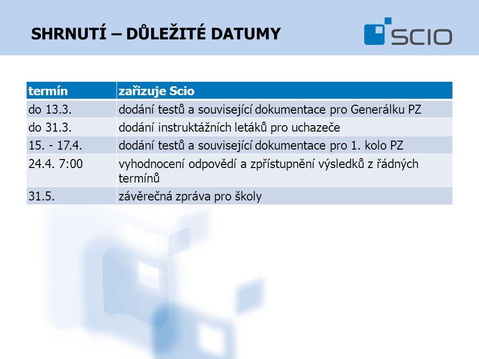 SHRNUTÍ – DŮLEŽITÉ DATUMY termínzařizuje Scio do 13.3.dodání testů a související dokumentace pro Generálku PZ do 31.3.dodání instruktážních letáků pro uchazeče 15.