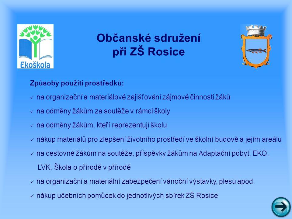 Občanské sdružení při ZŠ Rosice Žádalo o dotaci na následující projekty: 1.