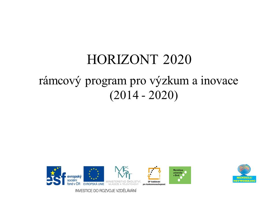 jednotný celoevropský program pro výzkum a inovace podpora strategie Evropa 2020 (Evropa inovací): výzkum a inovace mají ústřední význam pro dosažení cílů inteligentního a udržitelného růstu podporujícího začlenění navržený rozpočet 80 mld.