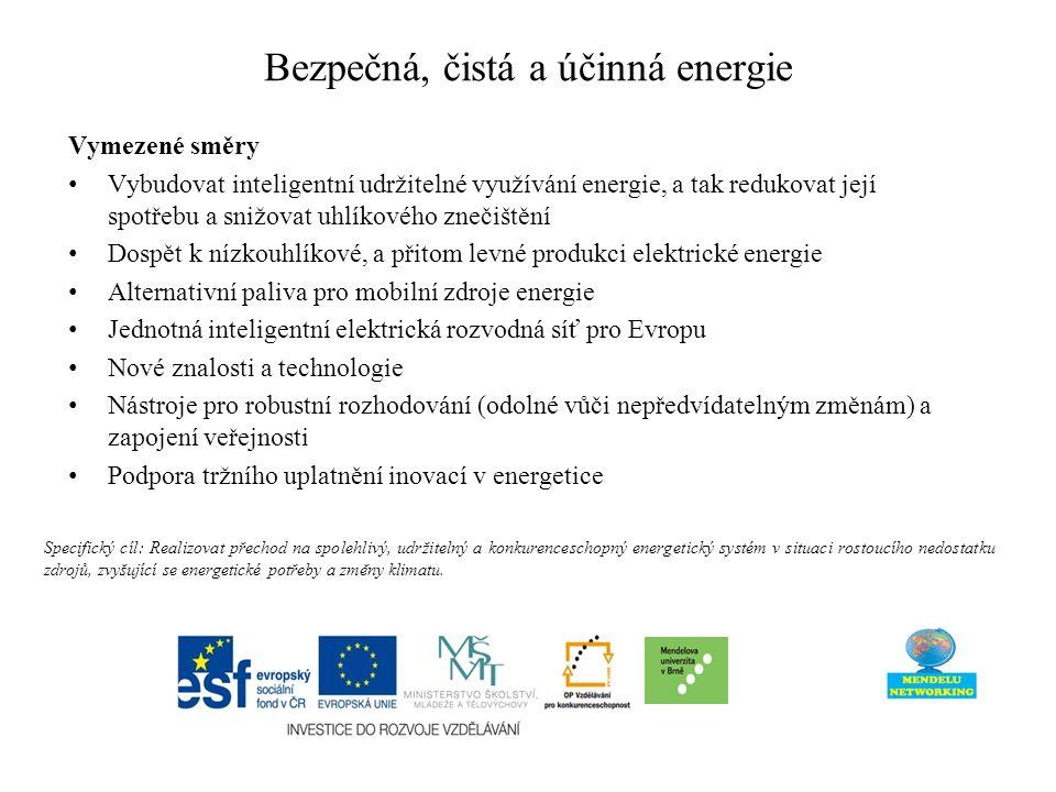 Bezpečná, čistá a účinná energie Vymezené směry Vybudovat inteligentní udržitelné využívání energie, a tak redukovat její spotřebu a snižovat uhlíkového znečištění Dospět k nízkouhlíkové, a přitom levné produkci elektrické energie Alternativní paliva pro mobilní zdroje energie Jednotná inteligentní elektrická rozvodná síť pro Evropu Nové znalosti a technologie Nástroje pro robustní rozhodování (odolné vůči nepředvídatelným změnám) a zapojení veřejnosti Podpora tržního uplatnění inovací v energetice Specifický cíl: Realizovat přechod na spolehlivý, udržitelný a konkurenceschopný energetický systém v situaci rostoucího nedostatku zdrojů, zvyšující se energetické potřeby a změny klimatu.