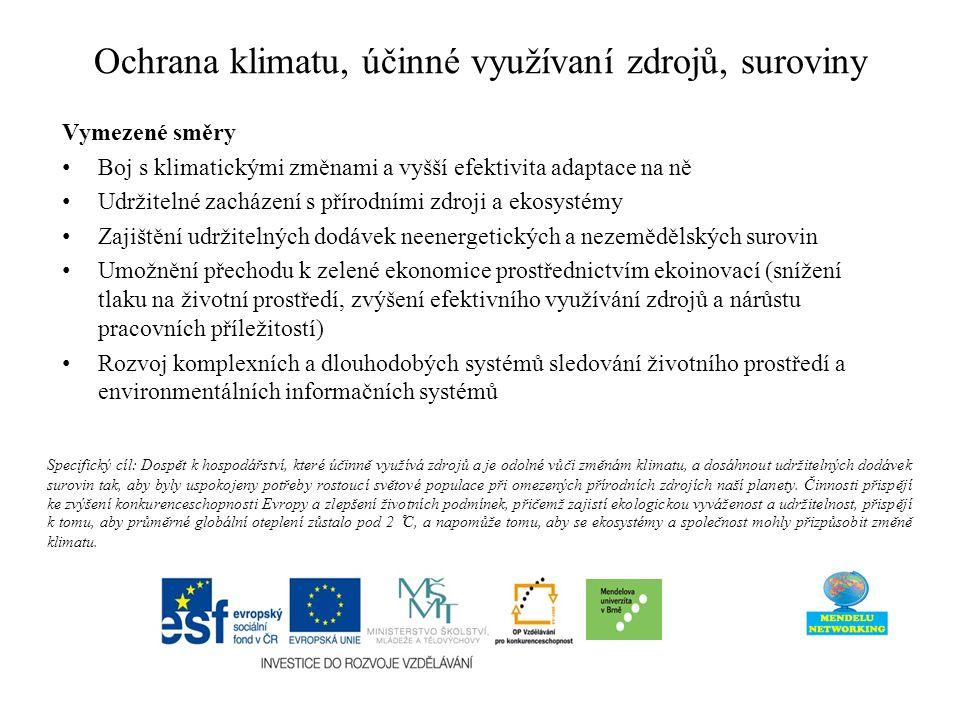 Ochrana klimatu, účinné využívaní zdrojů, suroviny Vymezené směry Boj s klimatickými změnami a vyšší efektivita adaptace na ně Udržitelné zacházení s přírodními zdroji a ekosystémy Zajištění udržitelných dodávek neenergetických a nezemědělských surovin Umožnění přechodu k zelené ekonomice prostřednictvím ekoinovací (snížení tlaku na životní prostředí, zvýšení efektivního využívání zdrojů a nárůstu pracovních příležitostí) Rozvoj komplexních a dlouhodobých systémů sledování životního prostředí a environmentálních informačních systémů Specifický cíl: Dospět k hospodářství, které účinně využívá zdrojů a je odolné vůči změnám klimatu, a dosáhnout udržitelných dodávek surovin tak, aby byly uspokojeny potřeby rostoucí světové populace při omezených přírodních zdrojích naší planety.