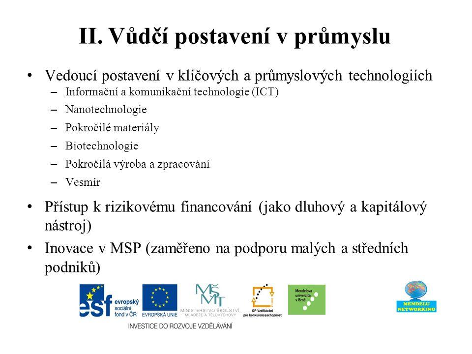 II. Vůdčí postavení v průmyslu Vedoucí postavení v klíčových a průmyslových technologiích – Informační a komunikační technologie (ICT) – Nanotechnolog