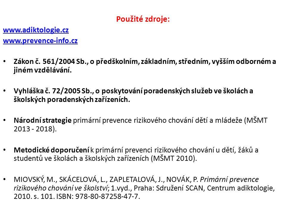 Použité zdroje: www.adiktologie.cz www.prevence-info.cz Zákon č. 561/2004 Sb., o předškolním, základním, středním, vyšším odborném a jiném vzdělávání.